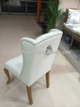 fabric Upholster Norway style wooden dining chair with Iron Ring