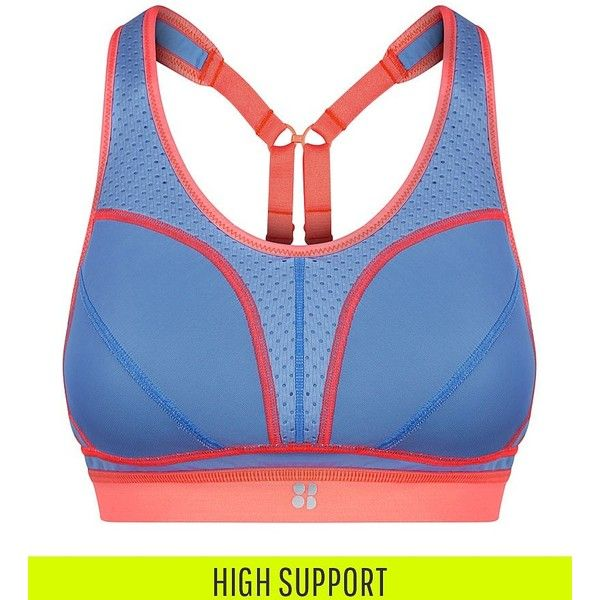 Sweaty Betty Victory Run Bra (£45) ❤ liked on Polyvore featuring activewear, sports bras, calmblue, padded sports bra, racer back sports bra, sweaty betty, blue sports bra and racerback sports bra