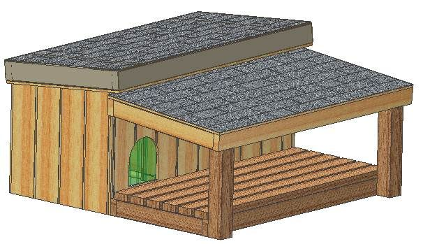 Covered porch dog house plan. I like this idea because they can be in the sun or rain and still be outside.