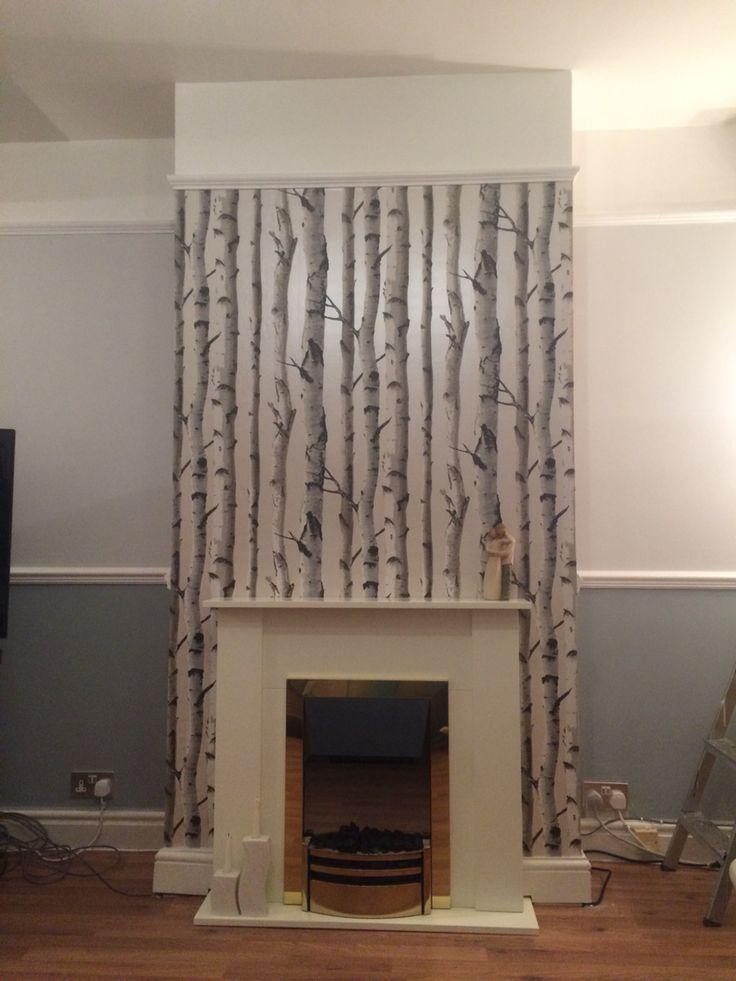 Homebase birch wallpaper, chimney breast