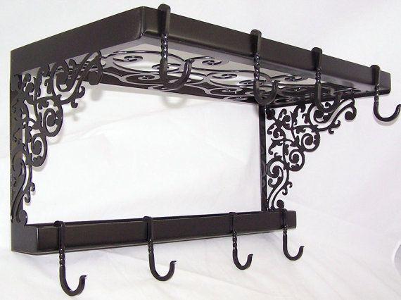Victorian Iron Pot Pan Rack Spice Shelf Wall Mount Kitchen Storage Fancy Hooks via Etsy