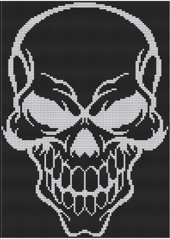 (10) Name: 'Embroidery : Halloween Skull (cross stitch)