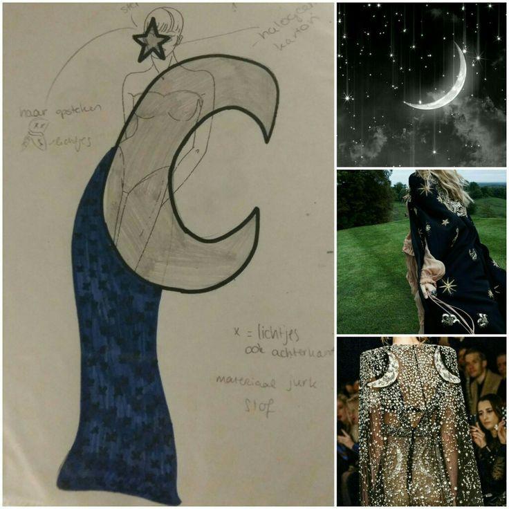 Aantal inspiratie plaatjes naast het ontwerp. Uitleg: Mijn eerste idee was meteen om iets met de natuur te doen, daarom heb ik verschillende elementen uit de natuur gebruikt in drie verschillende ontwerpen (maan/sterren, bloem, water/schelp).