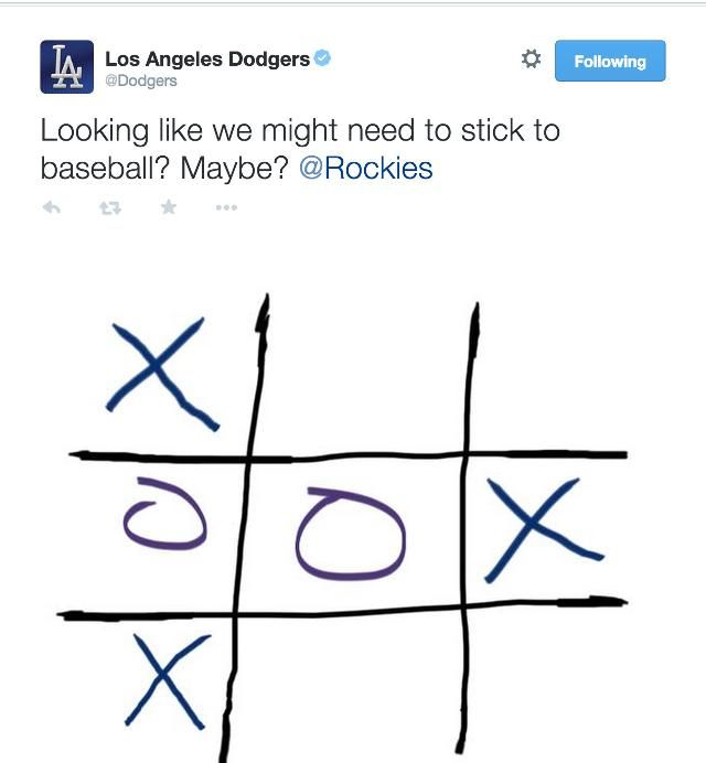 The Dodgers-Rockies game was delayed, so the teams played tic-tac-toe on Twitter.