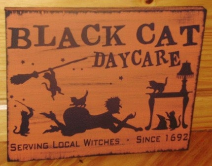 Black Cats Daycare Sign
