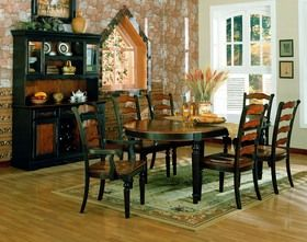 Distressed Brown and Black Casual Dining Room Furniture Set