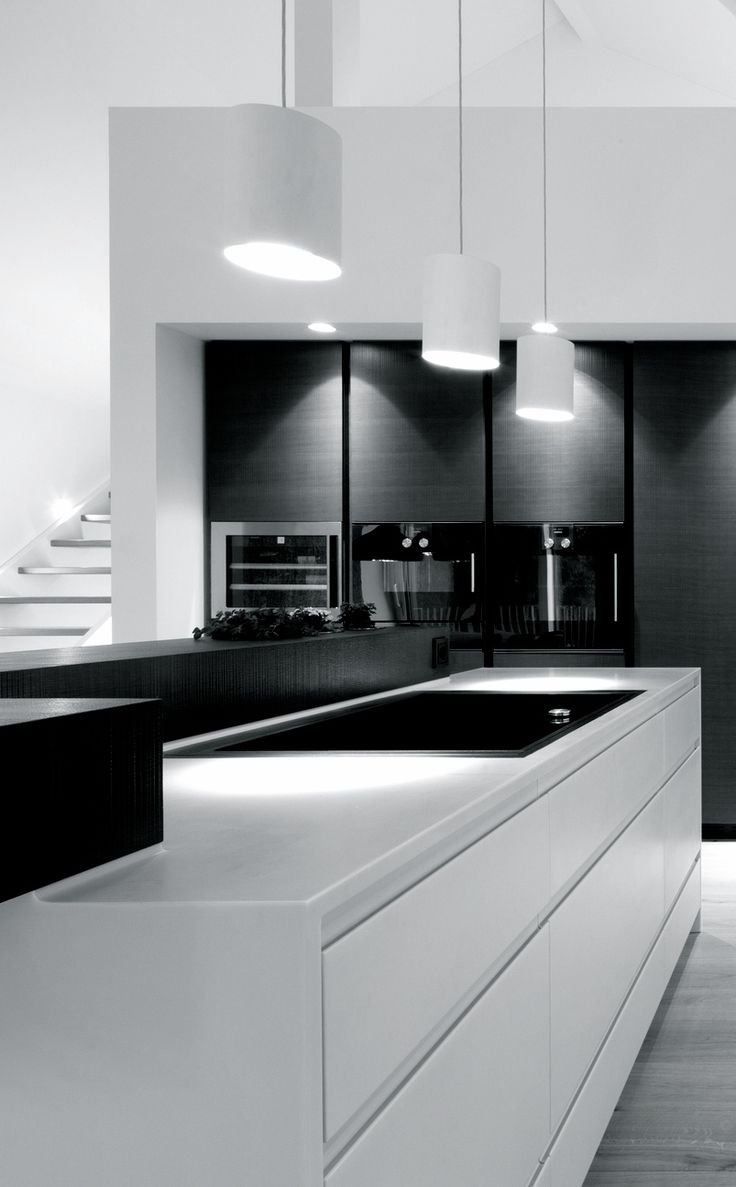 The 25 best black white kitchens ideas on pinterest for Black kitchen design