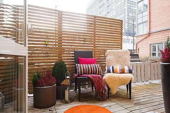 I like this idea how to make a balcony more private for Apartment balcony ideas