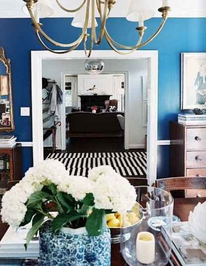 love this blue and black and white striped curtain or rug