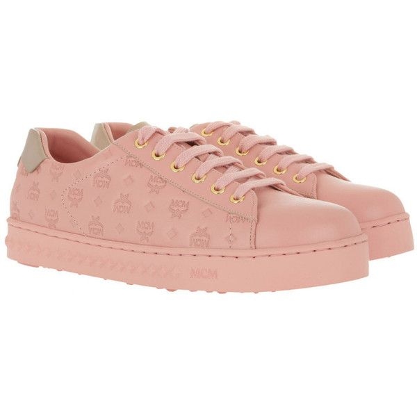 MCM Sneakers - W Embo LT Logo String Added Sneaker Pink Blush - in... (€345) ❤ liked on Polyvore featuring shoes, rose, toe cap shoes, studded flat shoes, rose pink shoes, leather flat shoes and pink flat shoes