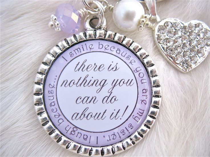 SISTER Wedding Quote Bridal Jewelry Gift Pendant