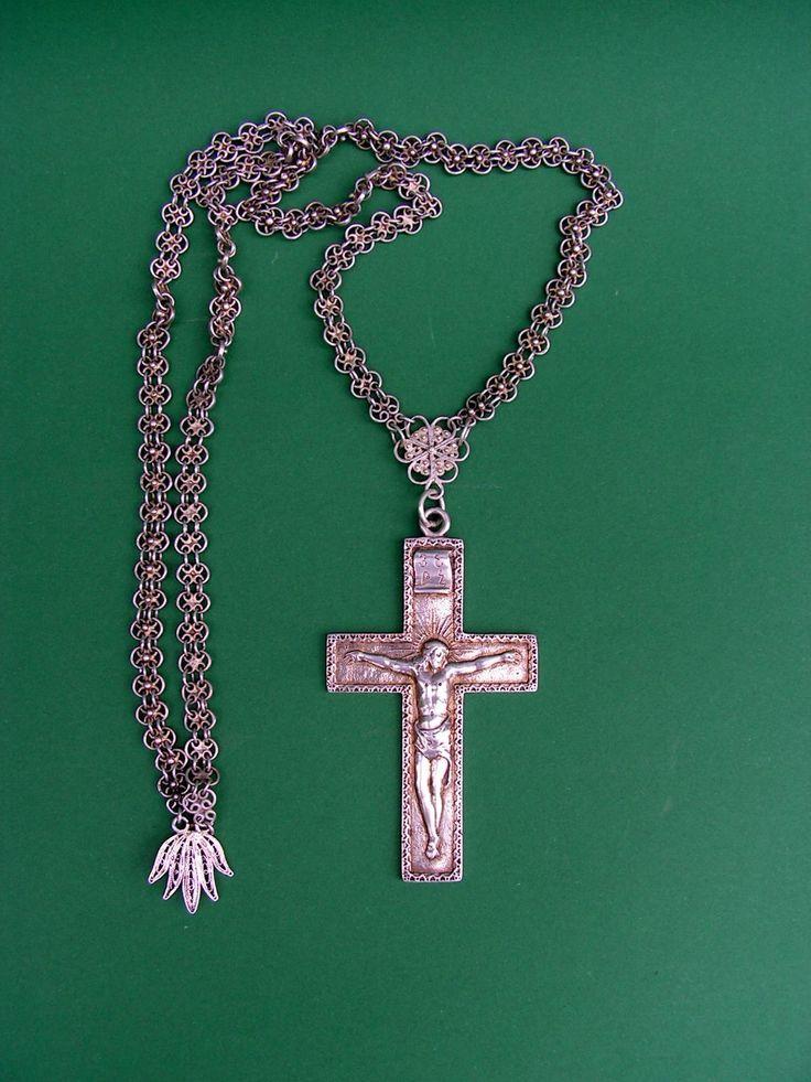 Antiek zilveren ketting met zilveren kruis antiek kerkzilver