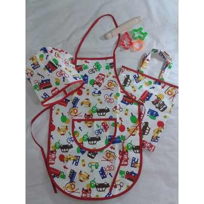 Kit De Cocinerito Delantal De Cocina Infantil Con Gorro - $ 285,00