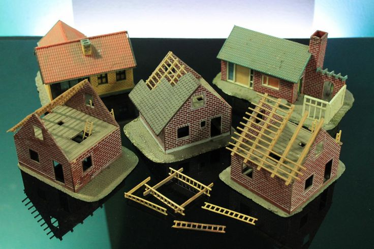 Vintage ahm ho scale brick houses construction plastic for Brick kit homes
