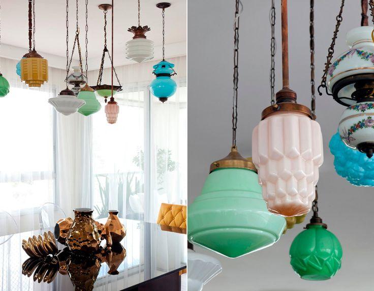 Truly beautiful way to recycle vintage light fittings! LOVE! Casa de Valentina - Décor cheio de personalidade