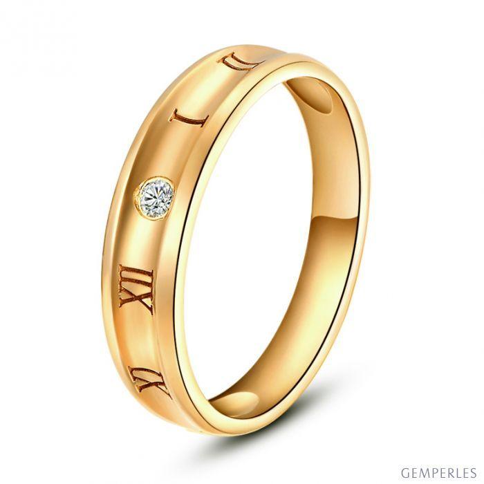 Bague Homme chiffre romain. Or jaune. Diamant