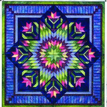 Usa este diseño para tu patchwork sin aguja.  Floral Star (canvaswork)