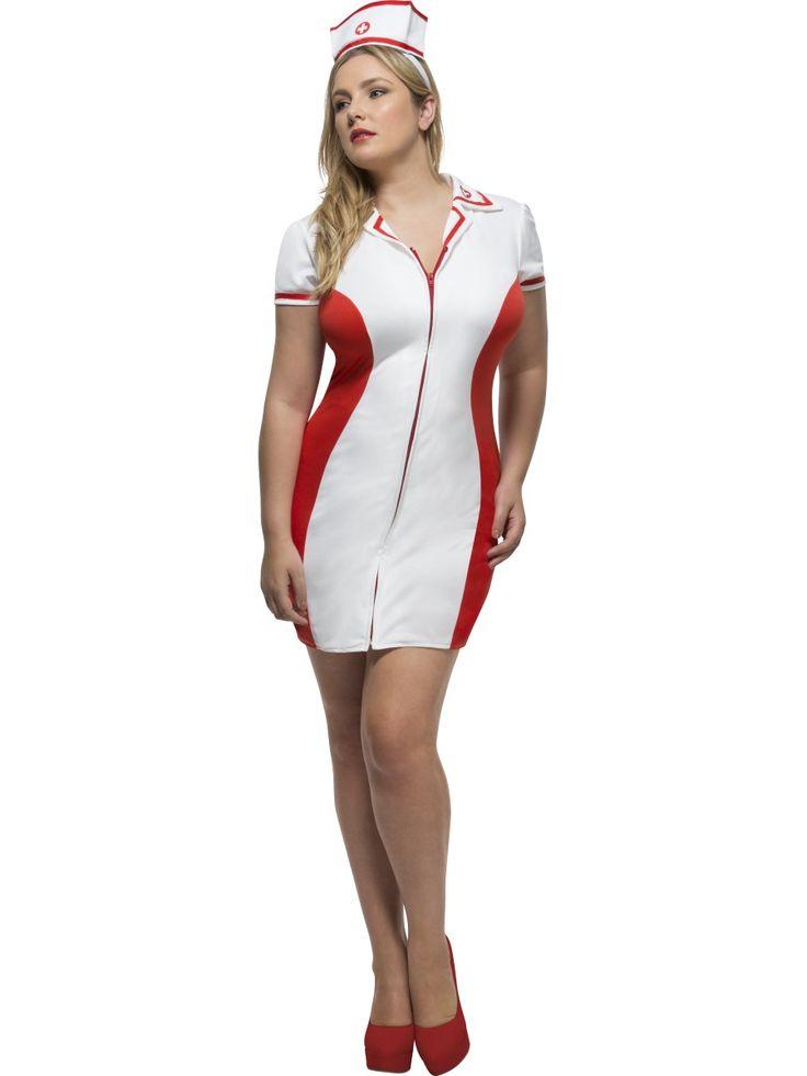Sairaanhoitaja++. Puna-valkoinen, sähäkkä hoitsun mekko.
