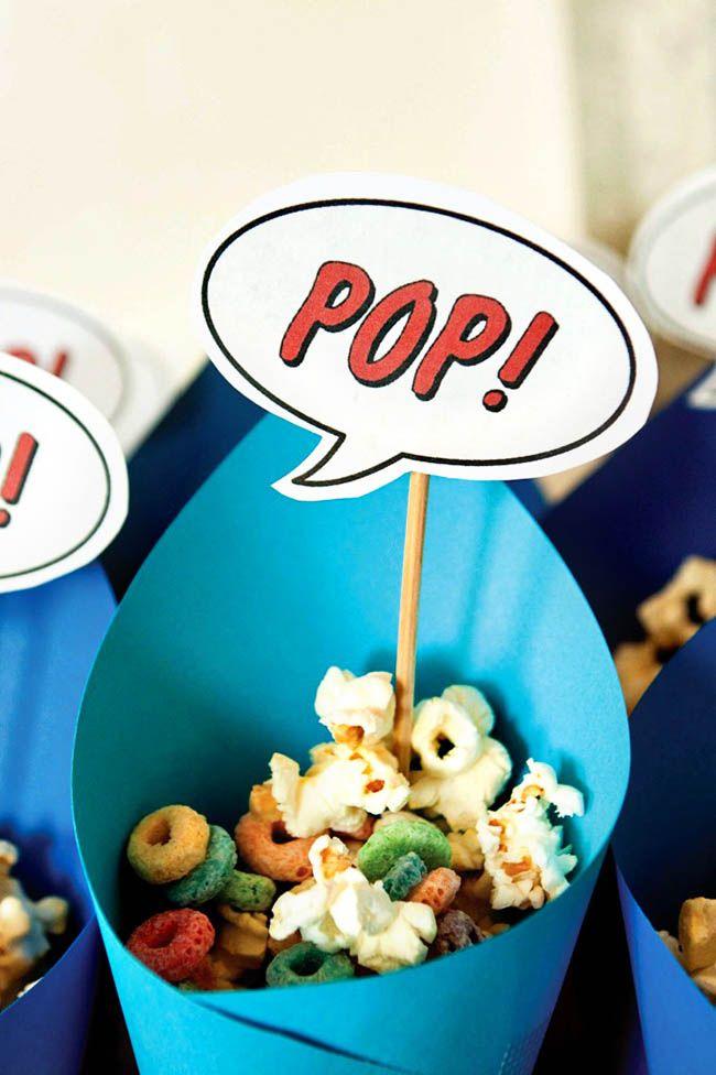 Superhero baby shower snacks