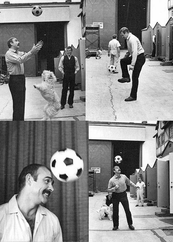 Sean Connery playing football on the set of The Molly Maguires