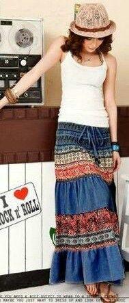 Boho Denim Skirt <3<3<3