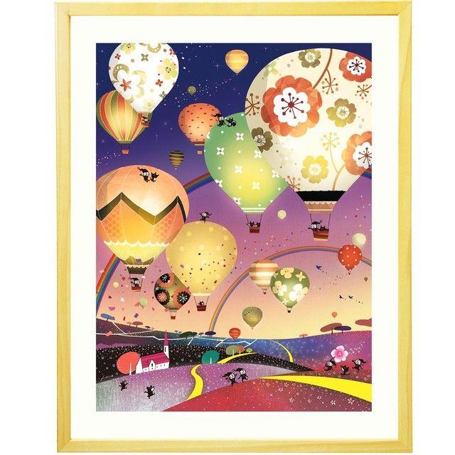 絵画 インテリア 花気球 輝く夜の星空 どこまでも どこまでも ナイト