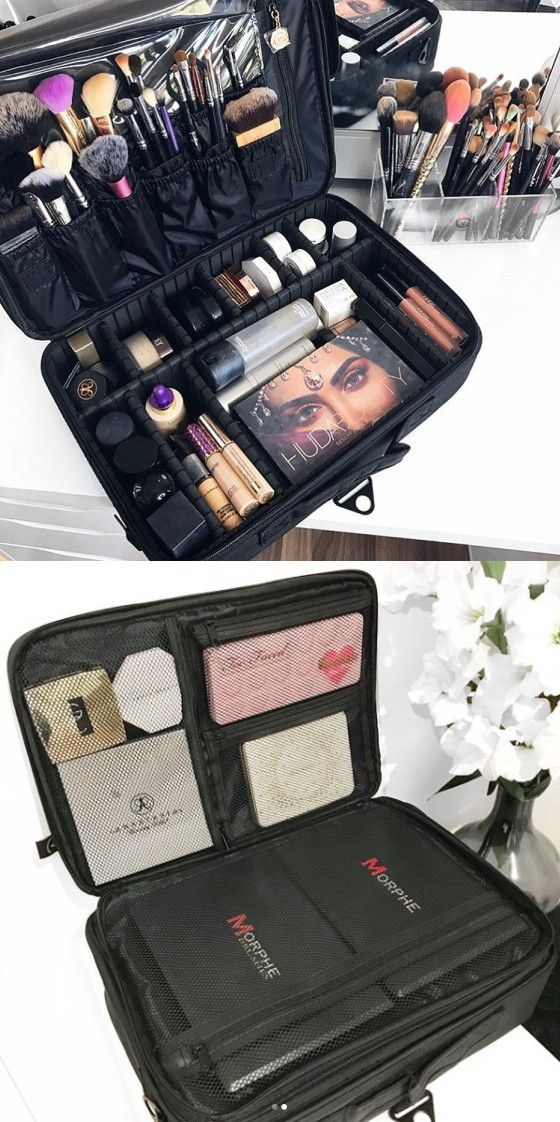 Portable Large Travel Oxford Soft Makeup Bag With Removable Tray Dividers In Black Joligarce Brush Compartment Cosmetic