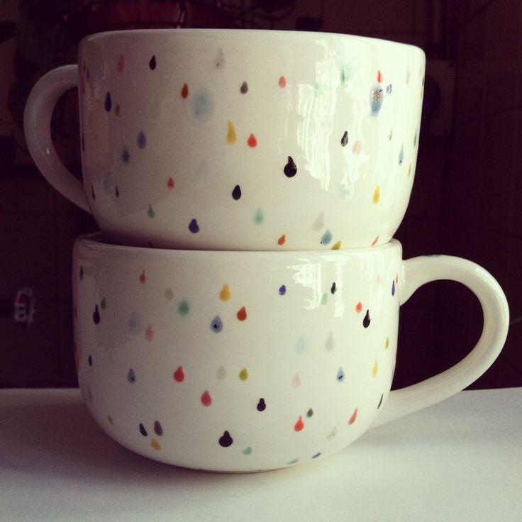 rain drop latte mug set - hand painted with lovely colorful drops. $40.00, via Etsy.