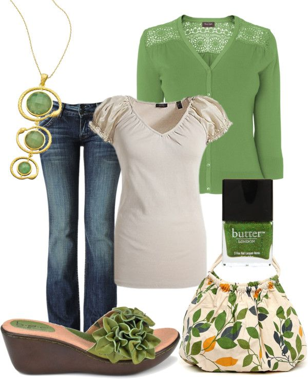 """Chelsea"" by lilylilac ❤ liked on Polyvore love the green...different shoes though"
