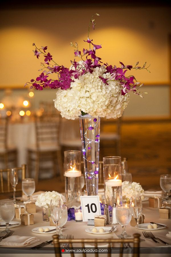 CD Florals Centerpiece: Ivory Hydrangea and fuchsia ...