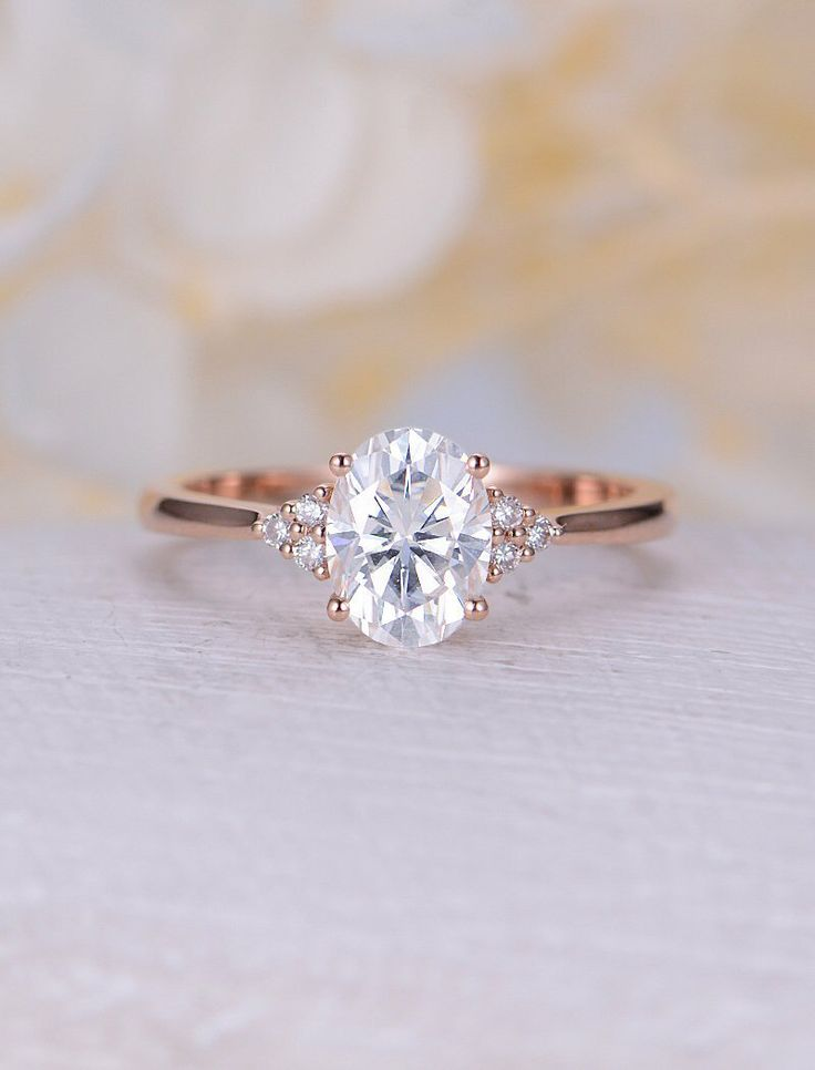 Vintage Moissanite engagement ring rose gold oval engagement ring diamond cluster ring wedding Bridal Jewelry Anniversary gift for women
