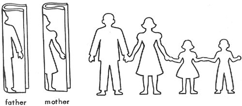 Cut Out Family Paper Dolls Chain with Mom Dad Brother and Sister