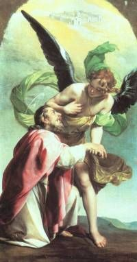 "St. John the Apostle - Feast day: dec 27. He became the ""beloved disciple""& the only one of the twelve who didn't forsake the Savior in the hour of His Passion. He stood faithfully at the cross when the Savior made him the guardian of His Mother.He was by order of Emperor Dometian, cast into a cauldron of boiling oil but came forth unhurt& was banished to the island of Pathmos for a year. He died at Ephesus about the year 100"