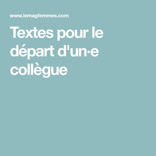 Textes pour le départ d'un·e collègue