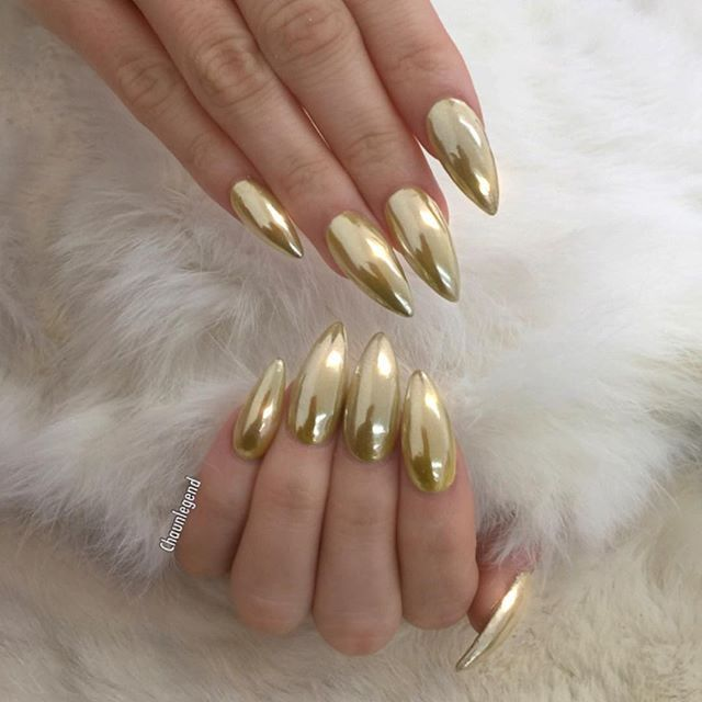 Gold chrome stiletto nails