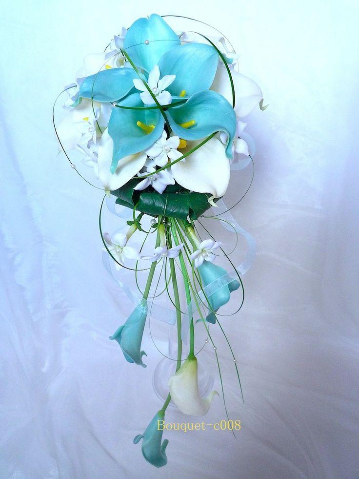 Bouquet de mariée cascade et la boutonnière Arum blanc turquoise (ref,bouquet-c008) : Autres accessoires par fleur-angelique