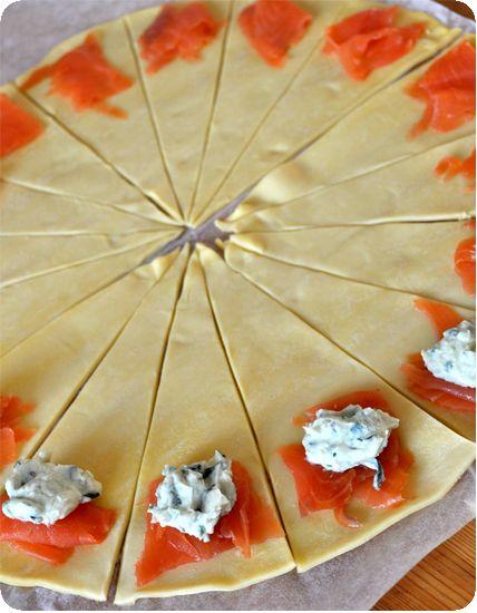 Ingrédients  pour 16 pièces :  1 pâte feuilletée 100 g de saumon ou truite fumée 100 g de fromage frais aux herbes (pour moi, en fonc...