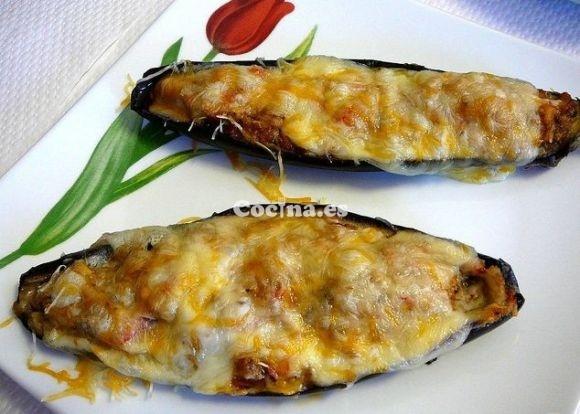 Receta de Berenjenas rellenas de atún y queso