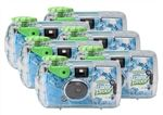 Waterproof, all-weather disposable cameras suitable for use underwater.