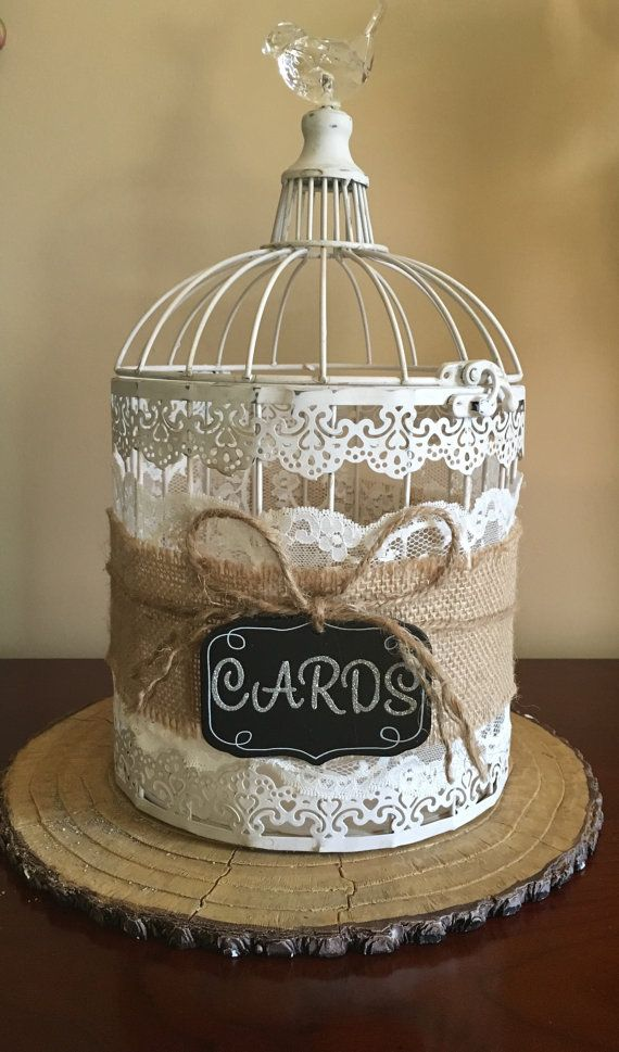 White Wedding Burlap and Lace Bird Cage For by WesternDivaDesigns
