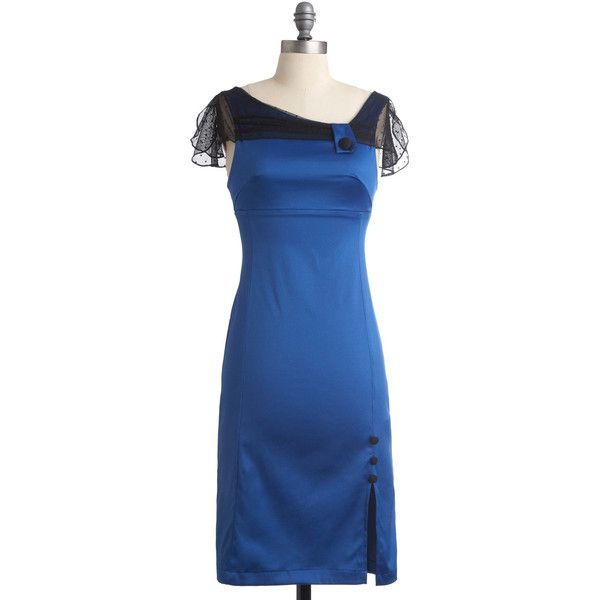 Rock Show Royalty Dress (€36) ❤ liked on Polyvore featuring dresses, blue, stretch dress, front slit dress, stretchy dresses, rock dress and collar dress