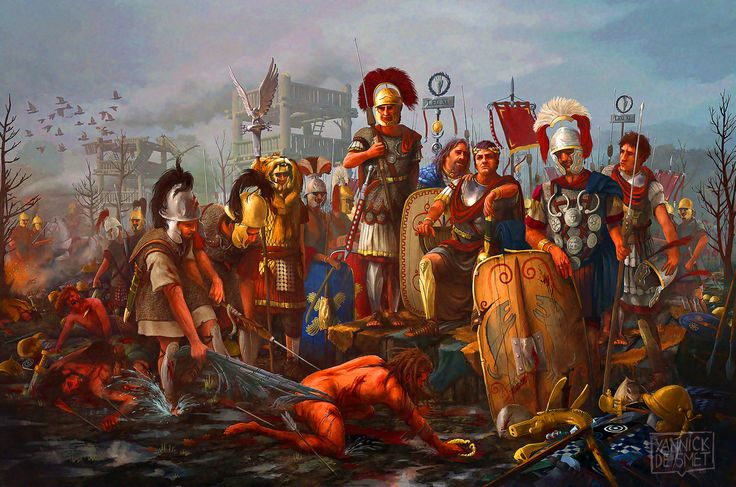 Julius Caesar accepting Vercingetorix' surrender after the Battle of Alesia, Gallic War