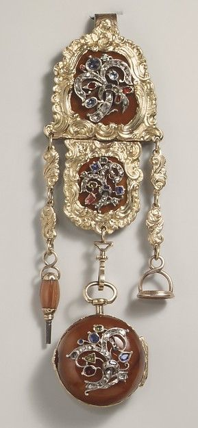 Watch and chatelaine Watchmaker: V. Blanck Date: ca. 1775 Culture: German, Regensburg Medium: Gold, agate, diamonds, sapphires, rubies, emeralds, carnelian Dimensions: 1/16 × 6 in. (0.2 × 15.2 cm) Classification: Horology Credit Line: The Collection of Giovanni P. Morosini, presented by his daughter Giulia, 1932 Accession Number: 32.75.33
