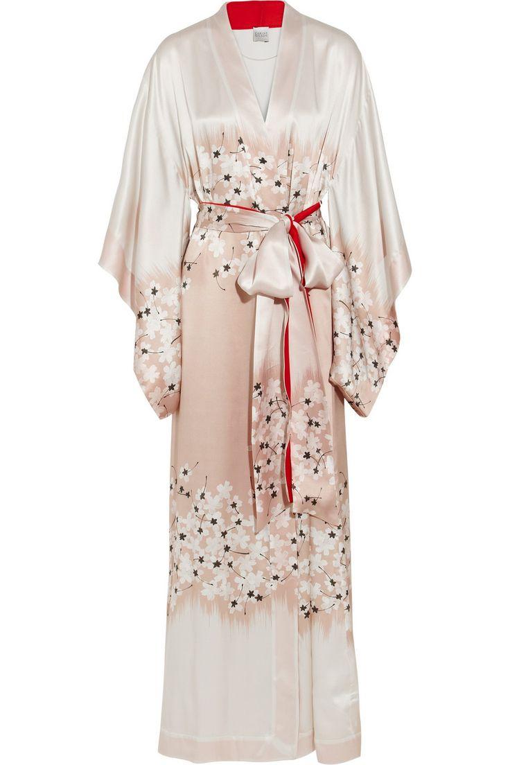 Carine Gilson|Sakura floral-print silk-satin kimono robe|NET-A-PORTER.COM