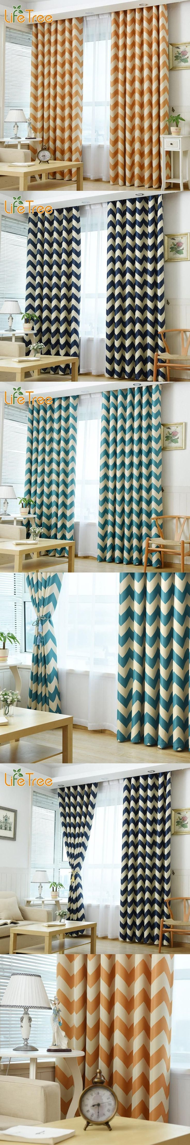 Waves Printed Modern Blackout Curtains For Living Room Mediterranean Blue Navy Yellow Bedroom Window Drapes Custom Made
