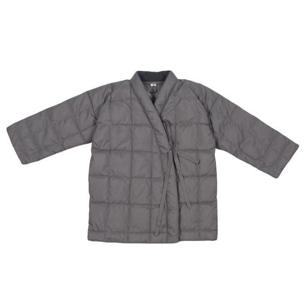 1528d0e77 KIDS Tambere Child Quilted Down Coat With Kimono Close - Khaki Grey ...
