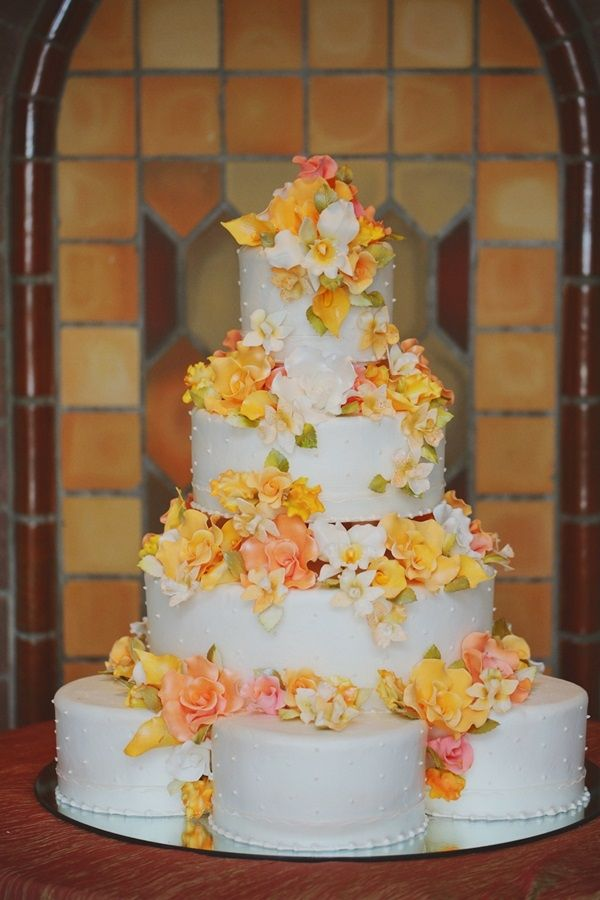 wedding cakes with orange flowers wedding cake with yellow and orange flowers yellow 26064