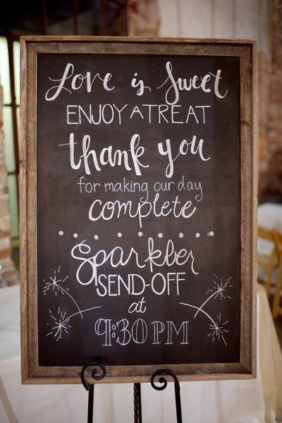"Rustic chalkboard wedding sign idea - ""love is sweet, enjoy a treat, thank you for making our day complete"" black chalkboard sign in rustic wooden frame {Mandi Mitchell Photography}"