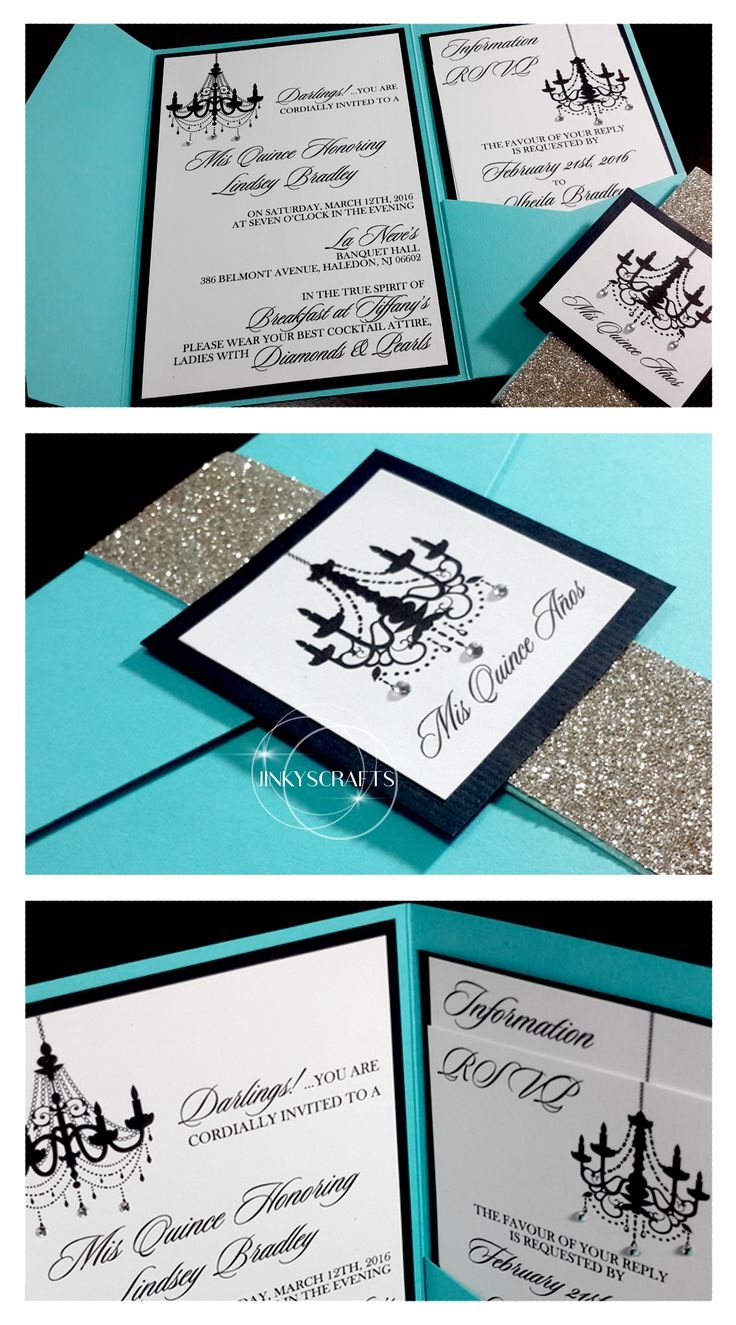 Lindsey Tiffany Blue Pocket Fold Suite Invitations, Quinceanera, Mis XV, Bling Wedding, Bling Quince, Glitter Wedding, Rhinestones, Luxury Wedding, Sweet 16, Bat Mitzvah, Fab40
