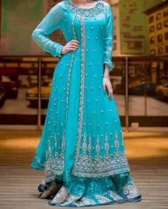 You must have seen many anarkali suits but this one is different as top is long anarkali and bottom is not churidar